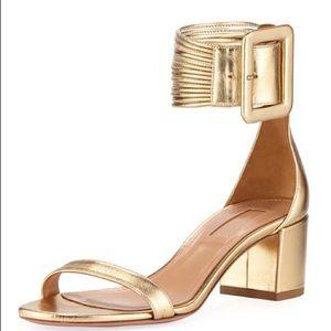 New Gold Aquazzura Casa Blanca Ankle Cuff Sandal